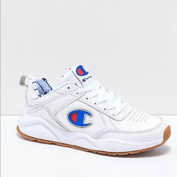 48dc59088b1 CHAMPION 93 EIGHTEEN BIG C WHITE LEATHER SNEAKERS.  M 5bb997de2e1478b3e144d216